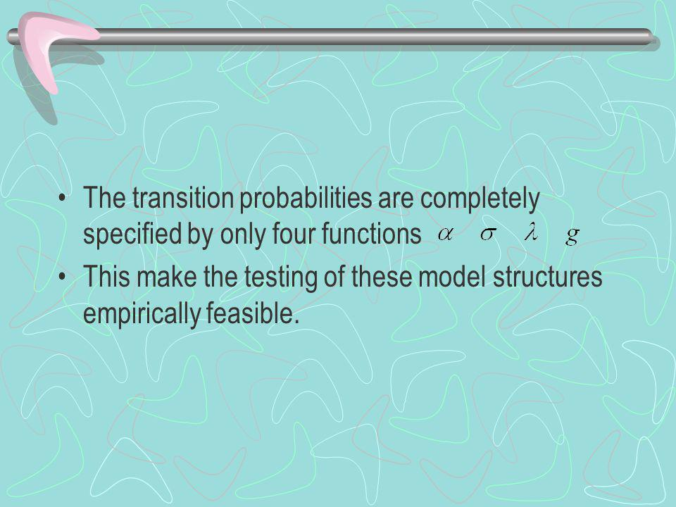The transition probabilities are completely specified by only four functions This make the testing of these model structures empirically feasible.