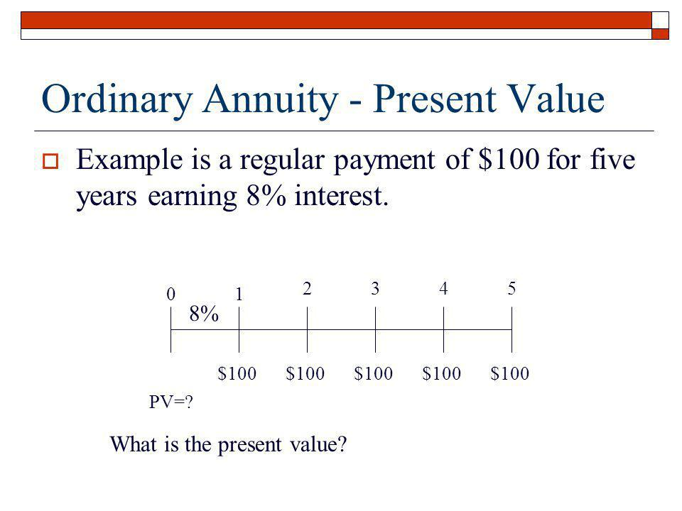 Ordinary Annuity - Present Value Example is a regular payment of $100 for five years earning 8% interest. 01 2345 $100 8% What is the present value? P
