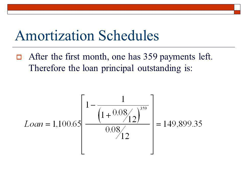 Amortization Schedules After the first month, one has 359 payments left. Therefore the loan principal outstanding is:
