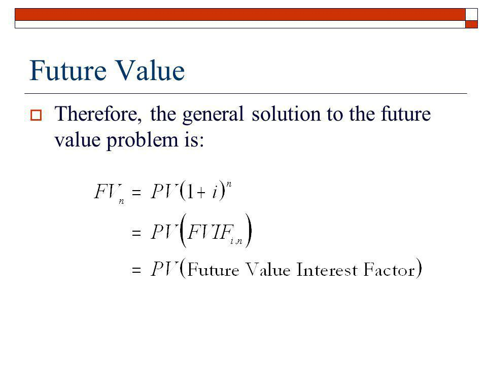 Future Value Therefore, the general solution to the future value problem is: