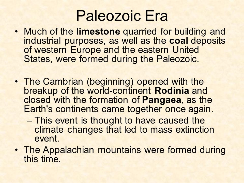 Paleozoic Era (Ancient Life) The Cambrian period is the 1 st period of the Paleozoic Era. Age of the Trilobites Explosion of life in the oceans began