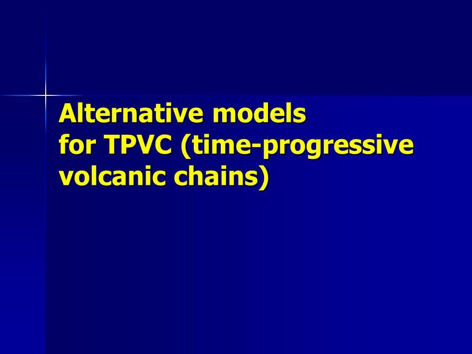 Alternative models for TPVC (time-progressive volcanic chains)