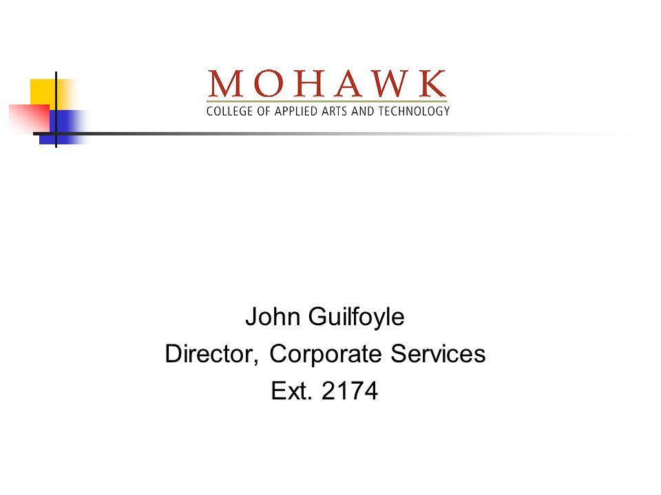 John Guilfoyle Director, Corporate Services Ext. 2174