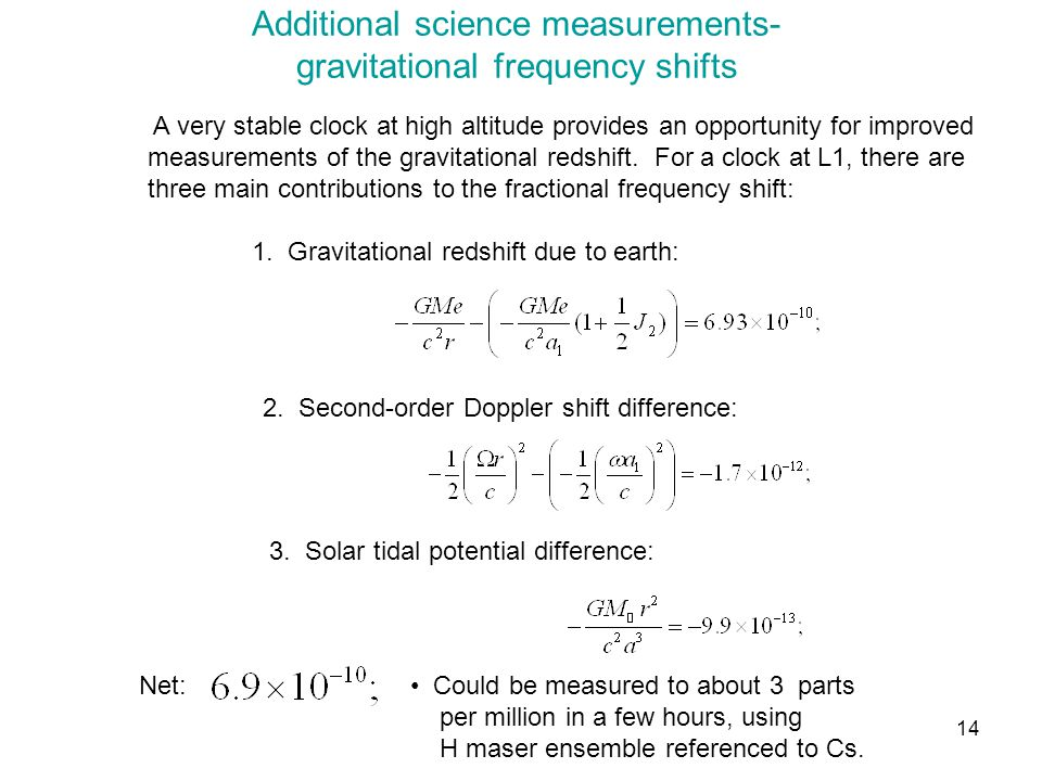 14 Additional science measurements- gravitational frequency shifts A very stable clock at high altitude provides an opportunity for improved measureme