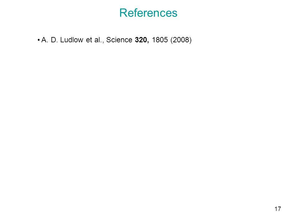 17 References A. D. Ludlow et al., Science 320, 1805 (2008)