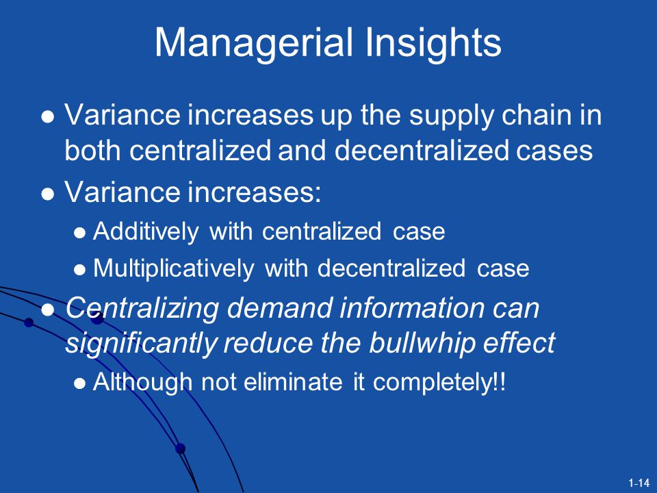 1-14 Managerial Insights Variance increases up the supply chain in both centralized and decentralized cases Variance increases: Additively with centra