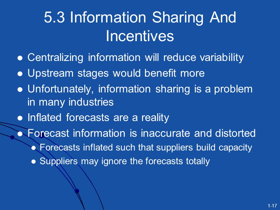 1-17 5.3 Information Sharing And Incentives Centralizing information will reduce variability Upstream stages would benefit more Unfortunately, informa
