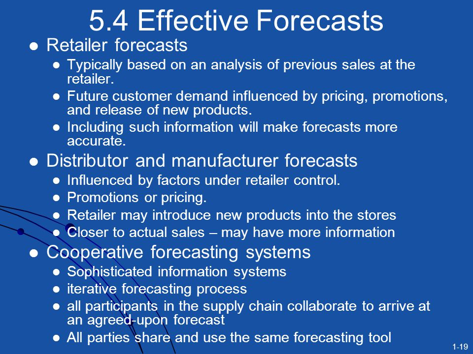 1-19 5.4 Effective Forecasts Retailer forecasts Typically based on an analysis of previous sales at the retailer. Future customer demand influenced by