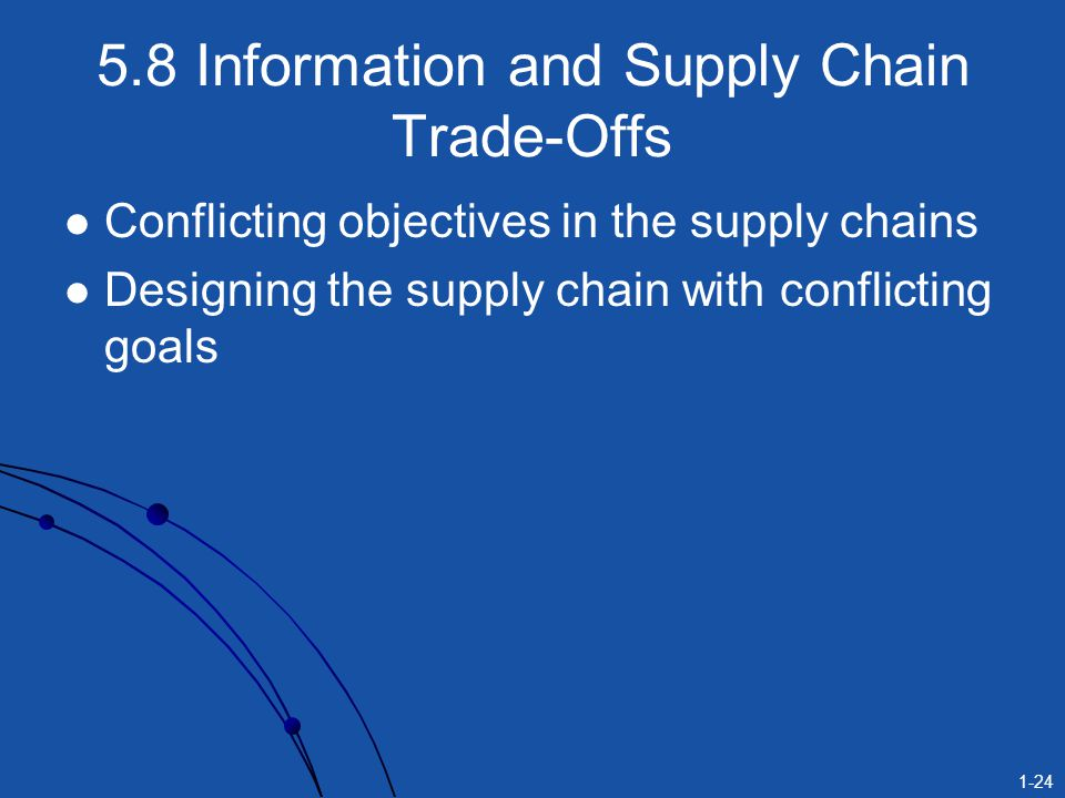 1-24 5.8 Information and Supply Chain Trade-Offs Conflicting objectives in the supply chains Designing the supply chain with conflicting goals