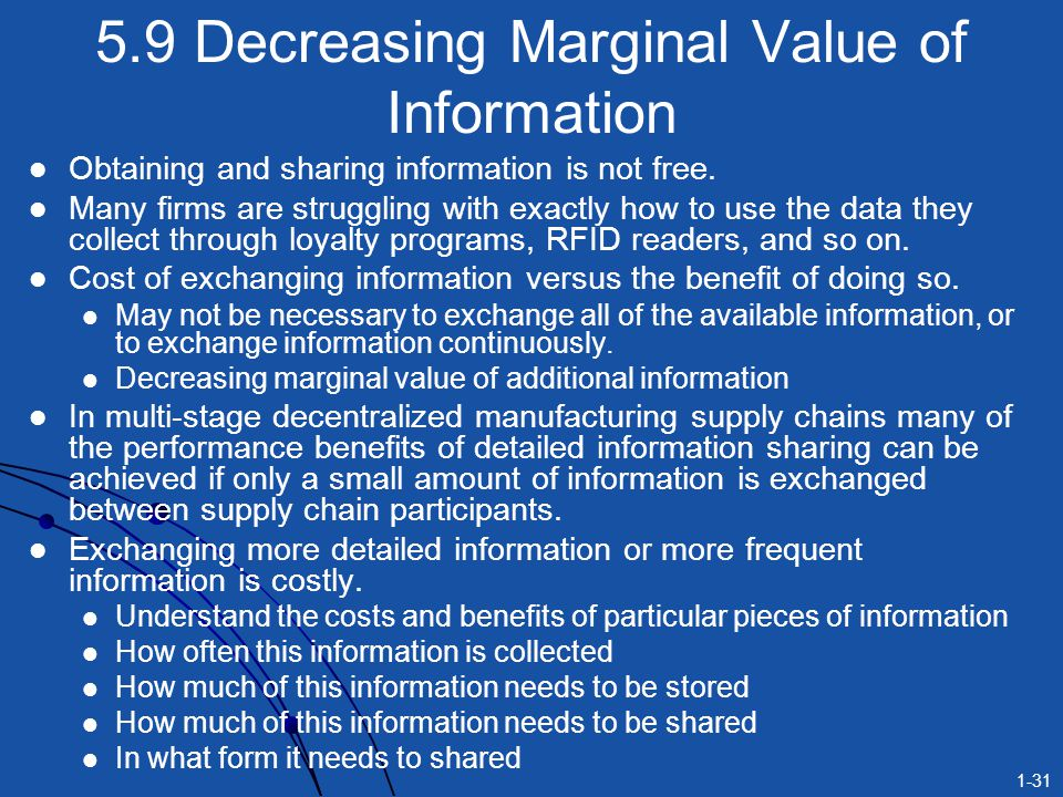 1-31 5.9 Decreasing Marginal Value of Information Obtaining and sharing information is not free. Many firms are struggling with exactly how to use the