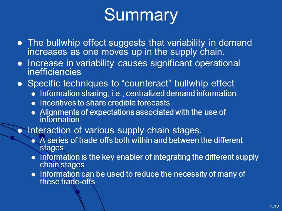 1-32 Summary The bullwhip effect suggests that variability in demand increases as one moves up in the supply chain. Increase in variability causes sig