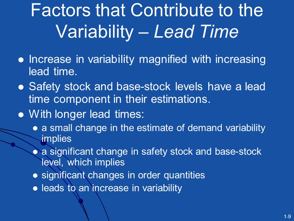 1-9 Increase in variability magnified with increasing lead time. Safety stock and base-stock levels have a lead time component in their estimations. W