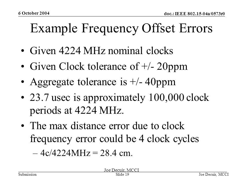 6 October 2004 Joe Decuir, MCCISlide 19 doc.: IEEE 802.15-04a/0573r0 Submission Joe Decuir, MCCI Example Frequency Offset Errors Given 4224 MHz nominal clocks Given Clock tolerance of +/- 20ppm Aggregate tolerance is +/- 40ppm 23.7 usec is approximately 100,000 clock periods at 4224 MHz.