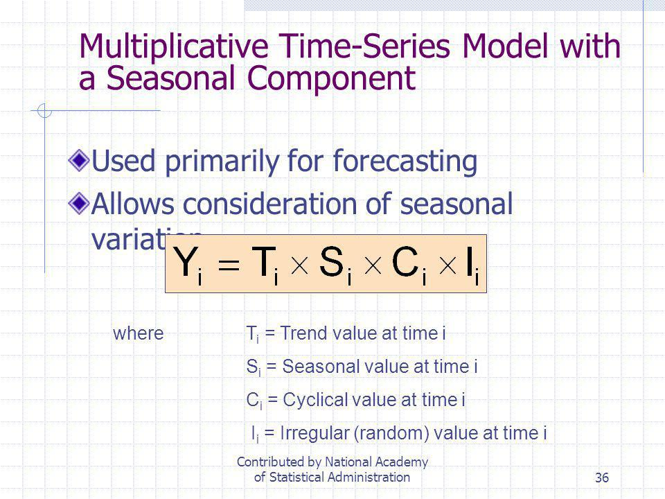 36 Multiplicative Time-Series Model with a Seasonal Component Used primarily for forecasting Allows consideration of seasonal variation whereT i = Tre