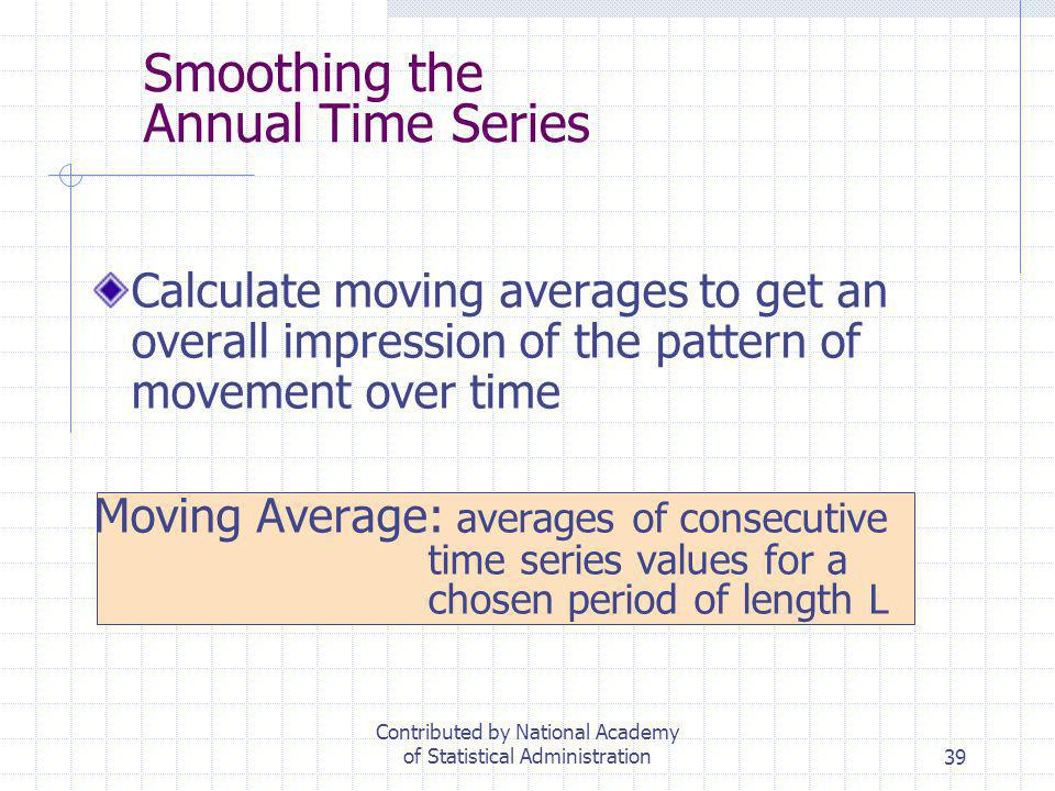 39 Smoothing the Annual Time Series Calculate moving averages to get an overall impression of the pattern of movement over time Moving Average: averag
