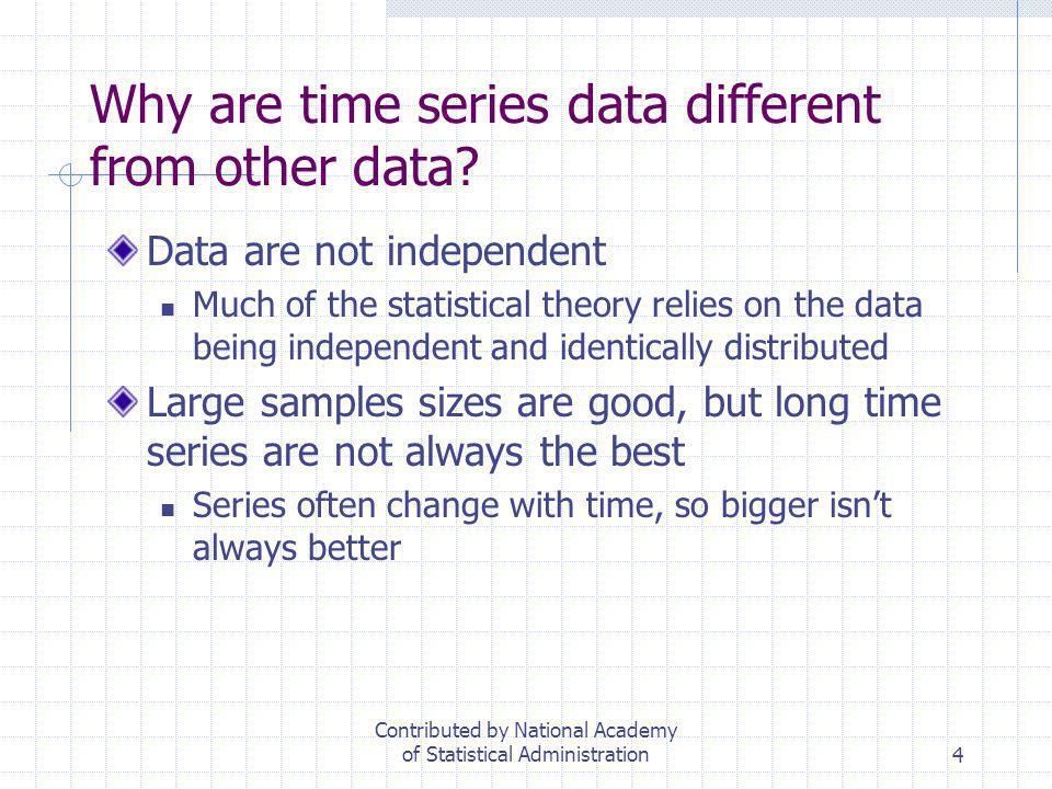 4 Why are time series data different from other data? Data are not independent Much of the statistical theory relies on the data being independent and