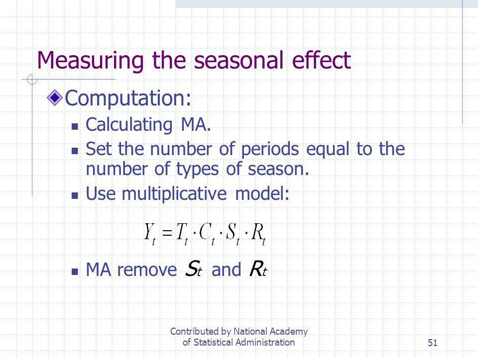 51 Measuring the seasonal effect Computation: Calculating MA. Set the number of periods equal to the number of types of season. Use multiplicative mod
