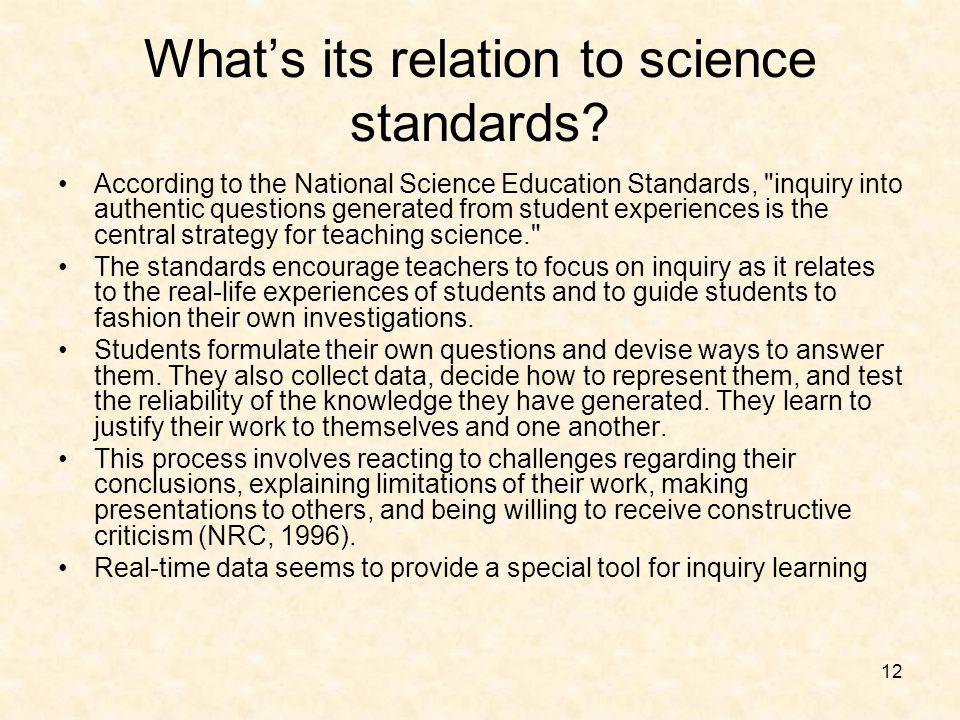 12 Whats its relation to science standards? According to the National Science Education Standards,