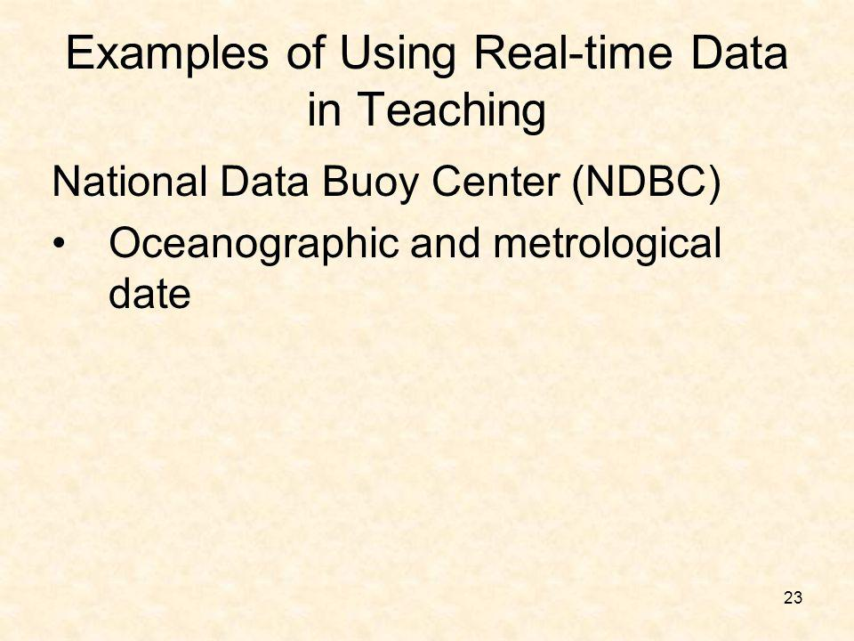 23 Examples of Using Real-time Data in Teaching National Data Buoy Center (NDBC) Oceanographic and metrological date