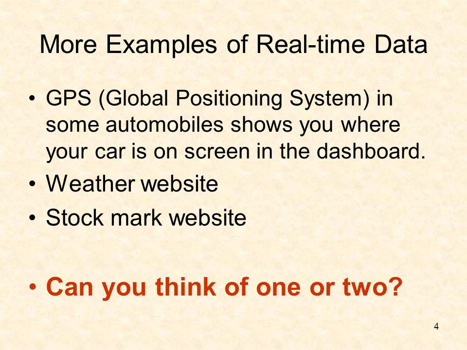4 More Examples of Real-time Data GPS (Global Positioning System) in some automobiles shows you where your car is on screen in the dashboard. Weather