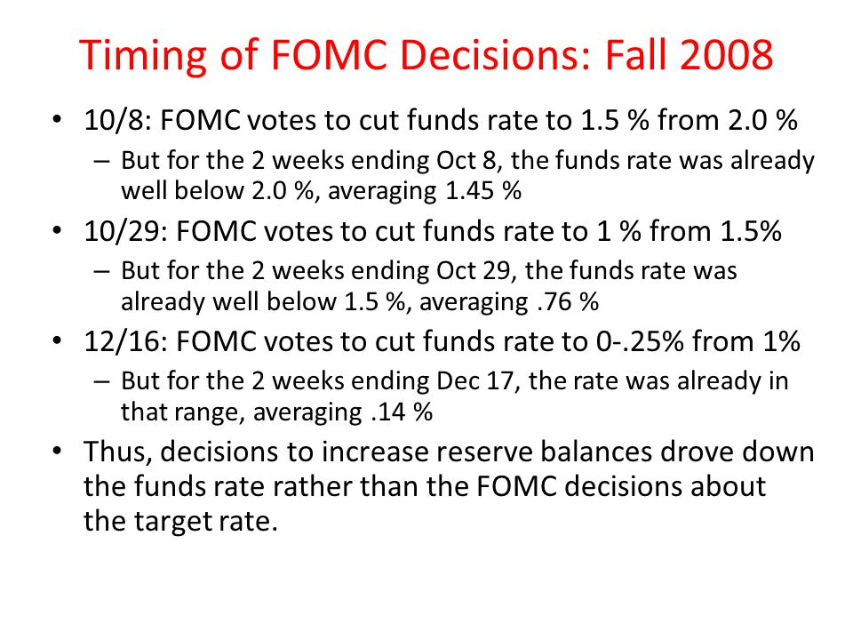 Timing of FOMC Decisions: Fall 2008 10/8: FOMC votes to cut funds rate to 1.5 % from 2.0 % – But for the 2 weeks ending Oct 8, the funds rate was alre