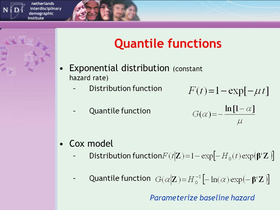 Quantile functions Exponential distribution (constant hazard rate) –Distribution function –Quantile function Cox model –Distribution function –Quantile function Parameterize baseline hazard