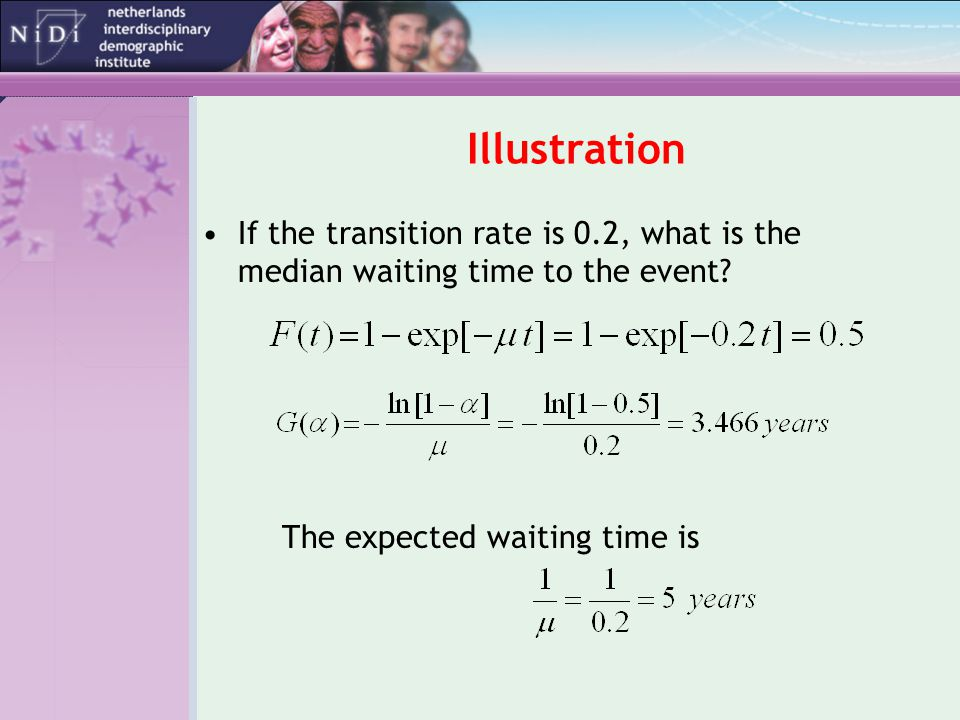 Illustration If the transition rate is 0.2, what is the median waiting time to the event.