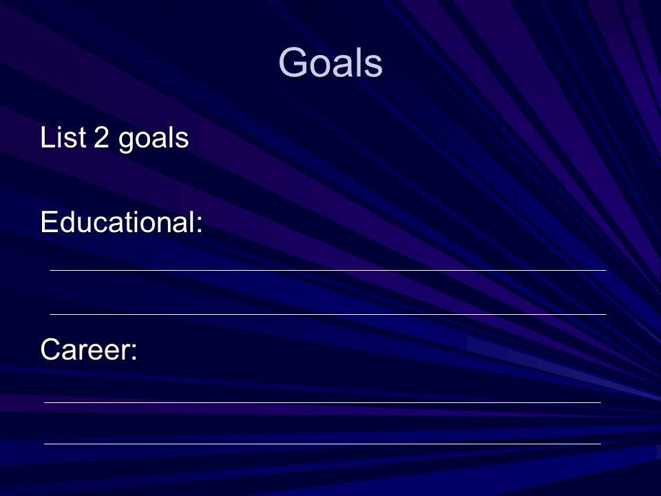Goals List 2 goals Educational:Career: