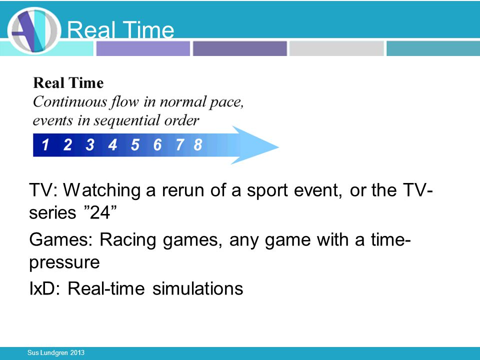Sus Lundgren 2013 Real Time TV: Watching a rerun of a sport event, or the TV- series 24 Games: Racing games, any game with a time- pressure IxD: Real-time simulations
