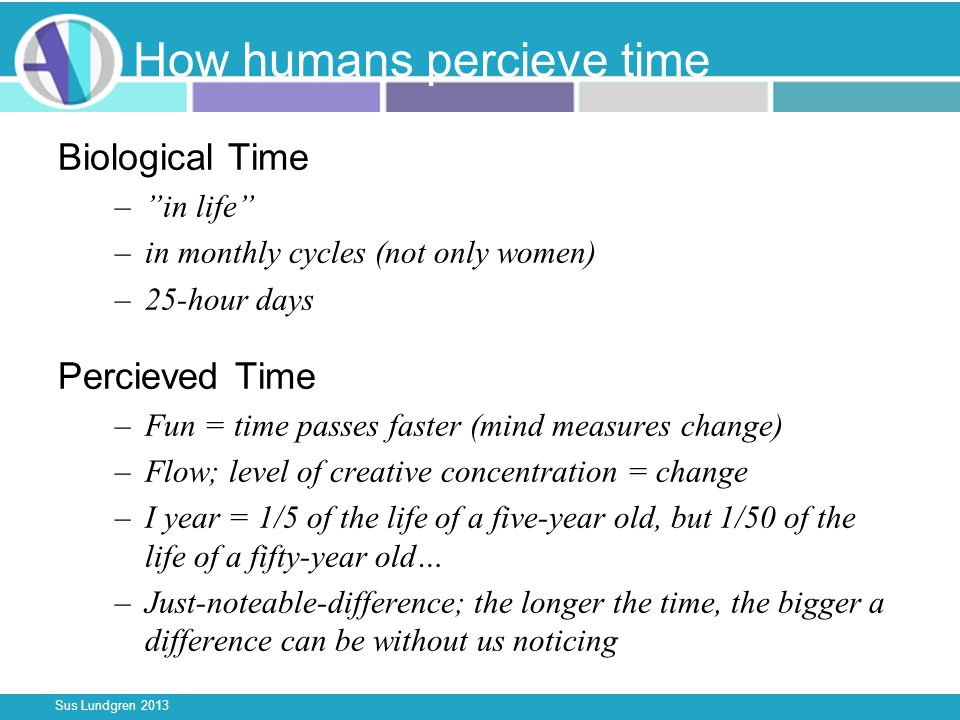 Sus Lundgren 2013 How humans percieve time Biological Time –in life –in monthly cycles (not only women) –25-hour days Percieved Time –Fun = time passes faster (mind measures change) –Flow; level of creative concentration = change –I year = 1/5 of the life of a five-year old, but 1/50 of the life of a fifty-year old… –Just-noteable-difference; the longer the time, the bigger a difference can be without us noticing