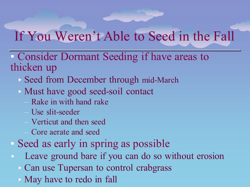 If You Werent Able to Seed in the Fall Consider Dormant Seeding if have areas to thicken up Seed from December through mid-March Must have good seed-s