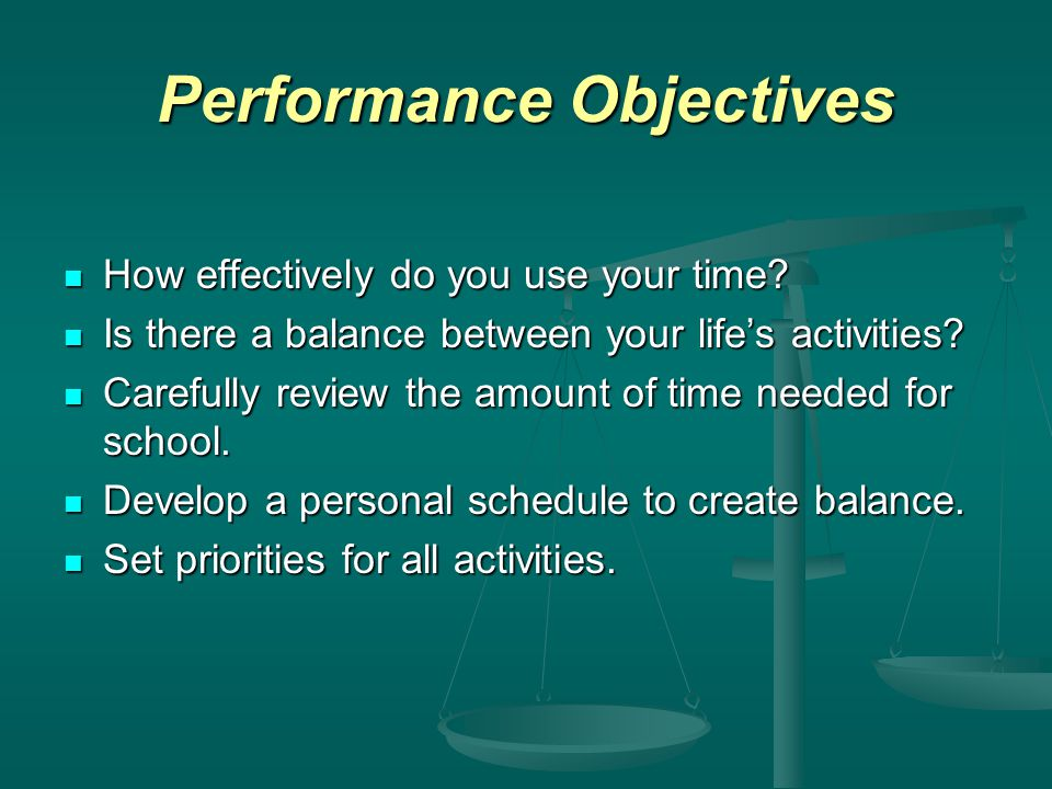 Performance Objectives How effectively do you use your time.