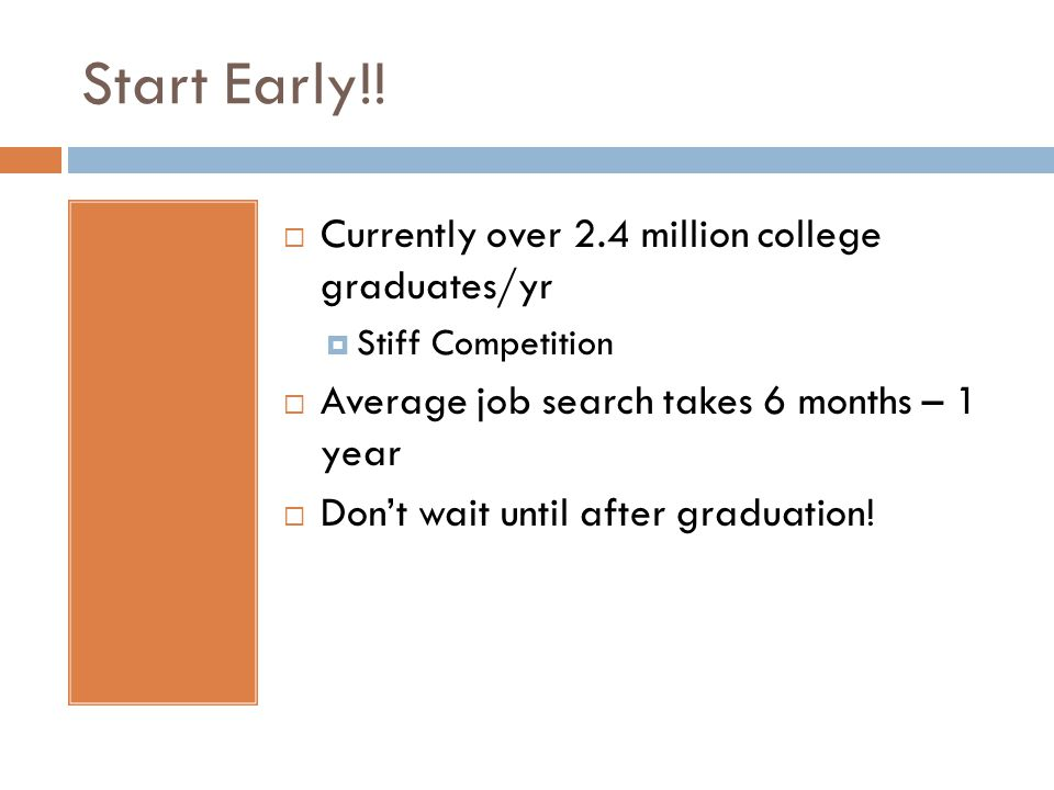 Start Early!! Currently over 2.4 million college graduates/yr Stiff Competition Average job search takes 6 months – 1 year Dont wait until after gradu