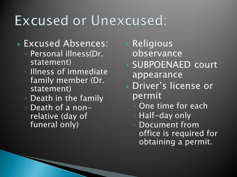 Excused Absences: Personal illness(Dr. statement) Illness of immediate family member (Dr.