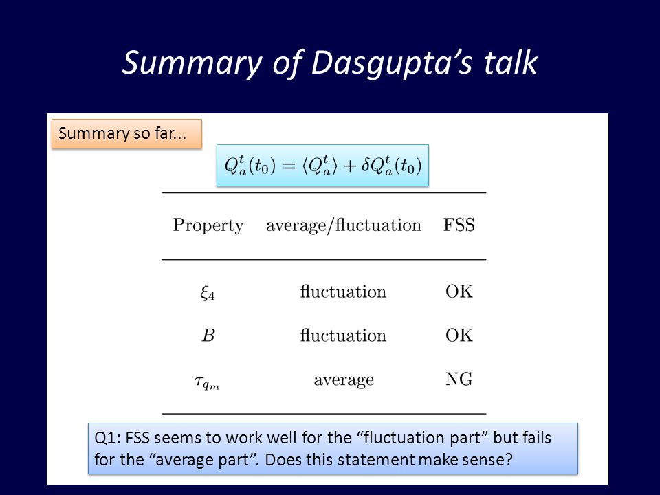Summary of Dasguptas talk Q1: FSS seems to work well for the fluctuation part but fails for the average part.