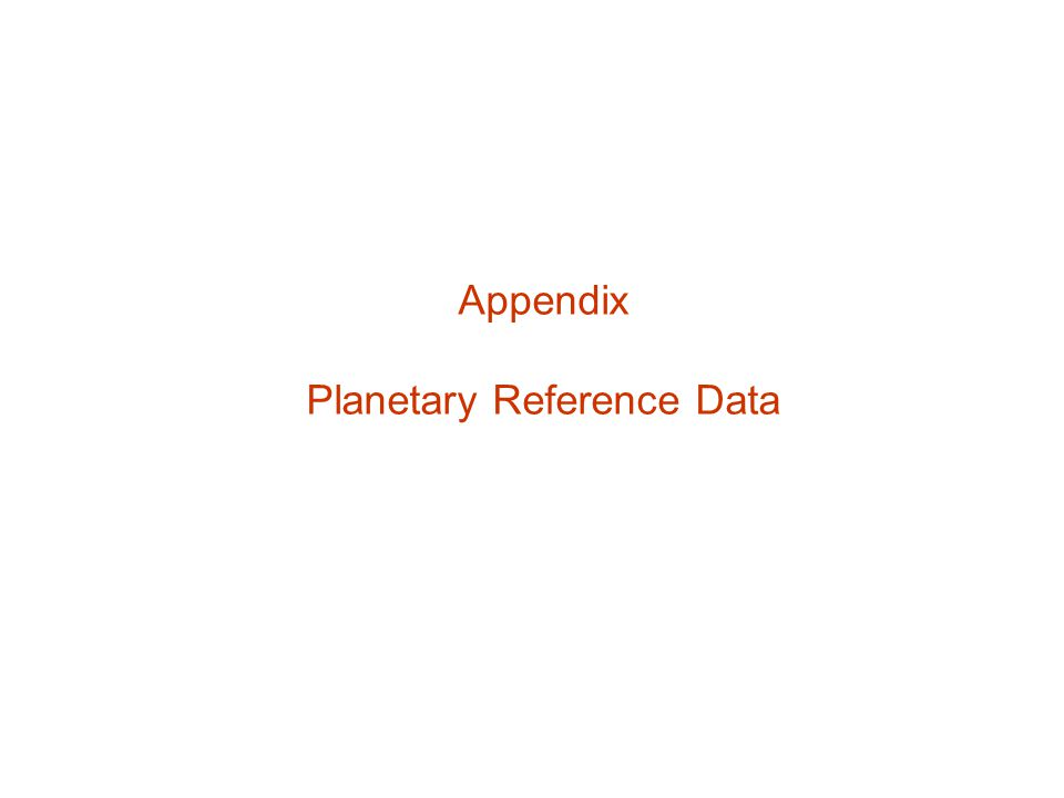 Appendix Planetary Reference Data