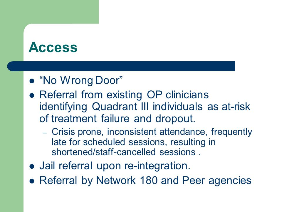Access No Wrong Door Referral from existing OP clinicians identifying Quadrant III individuals as at-risk of treatment failure and dropout.