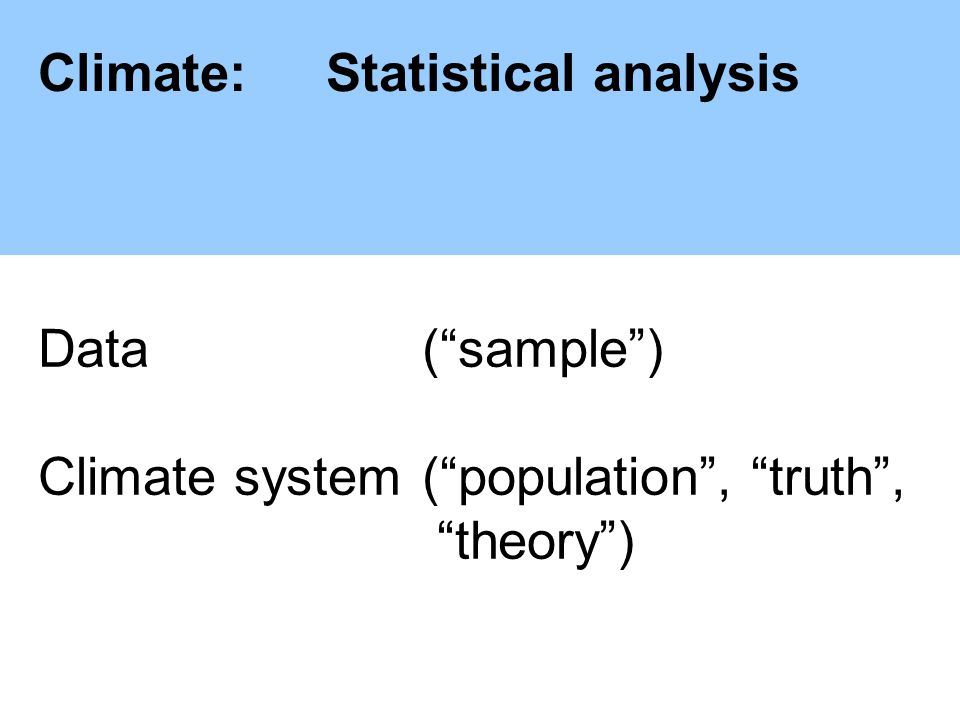 Climate:Statistical analysis Data (sample) Climate system(population, truth, theory)