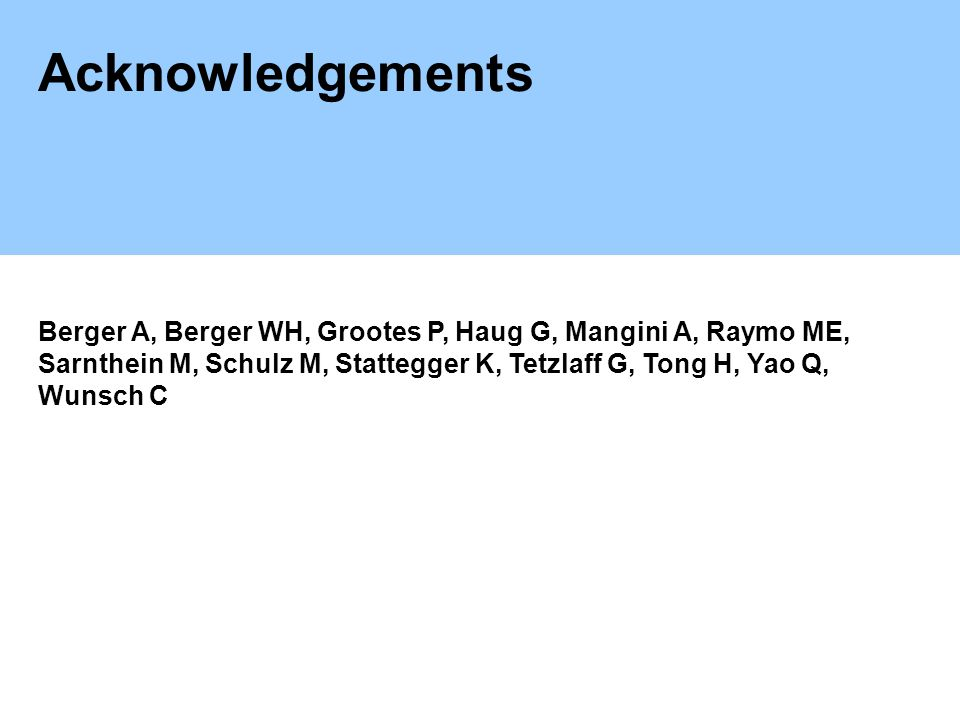 Acknowledgements Berger A, Berger WH, Grootes P, Haug G, Mangini A, Raymo ME, Sarnthein M, Schulz M, Stattegger K, Tetzlaff G, Tong H, Yao Q, Wunsch C
