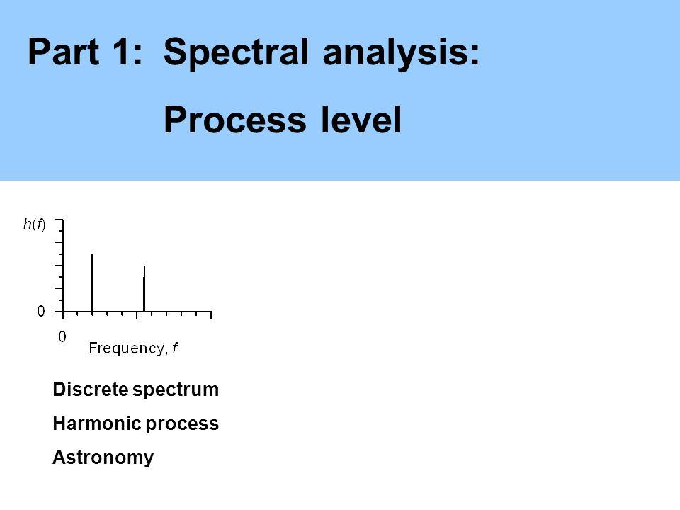 Part 1:Spectral analysis: Process level Discrete spectrum Harmonic process Astronomy