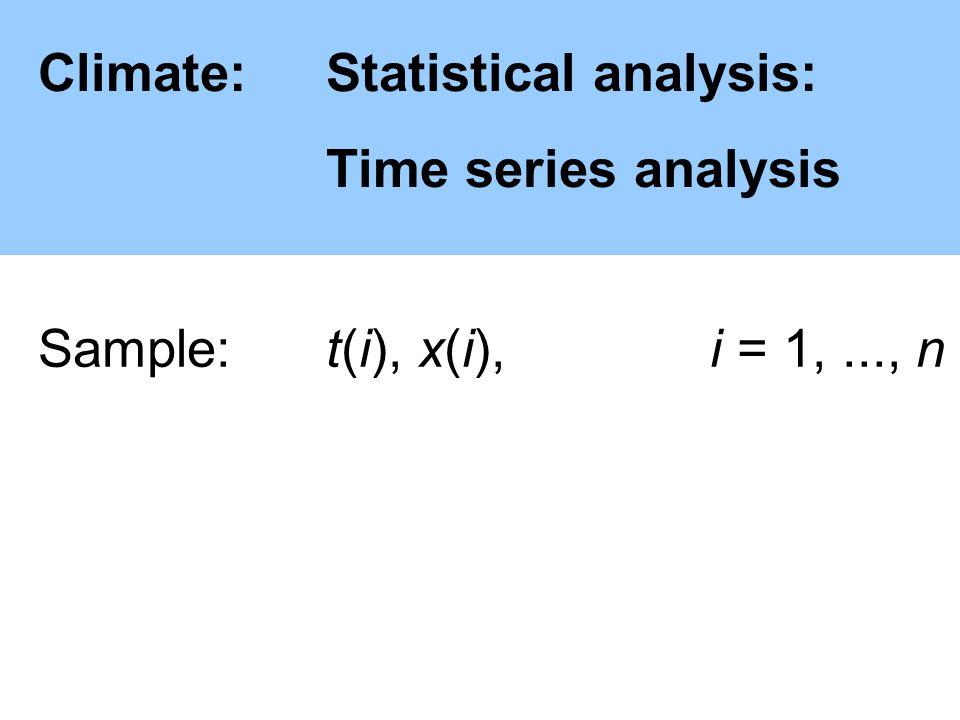 Climate:Statistical analysis: Time series analysis Sample: t(i), x(i),i = 1,..., n