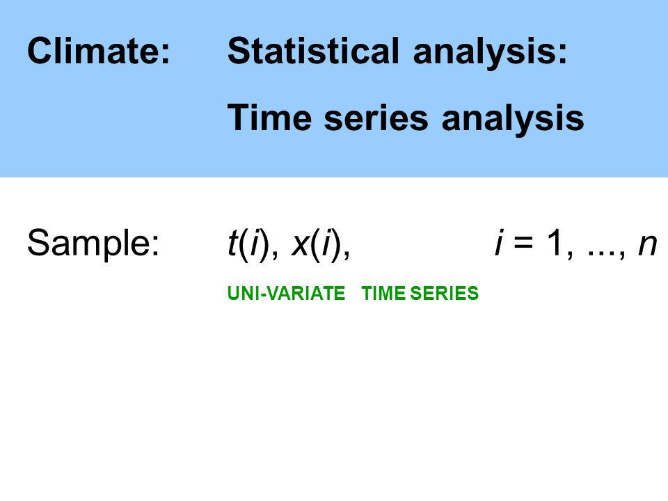 Climate:Statistical analysis: Time series analysis Sample: t(i), x(i), i = 1,..., n UNI-VARIATETIME SERIES