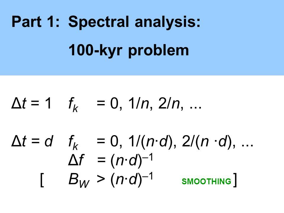 Part 1:Spectral analysis: 100-kyr problem Δt = 1f k = 0, 1/n, 2/n,... Δt = df k = 0, 1/(n·d), 2/(n ·d),... Δf = (n·d) –1 [ B W > (n·d) –1 SMOOTHING ]