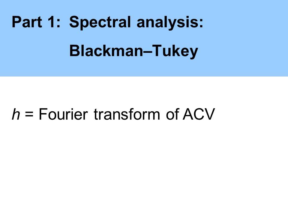 Part 1:Spectral analysis: Blackman–Tukey ] h = Fourier transform of ACV