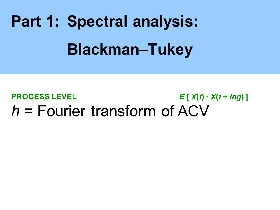 Part 1:Spectral analysis: Blackman–Tukey PROCESS LEVEL E [ X(t) · X(t + lag) ] h = Fourier transform of ACV