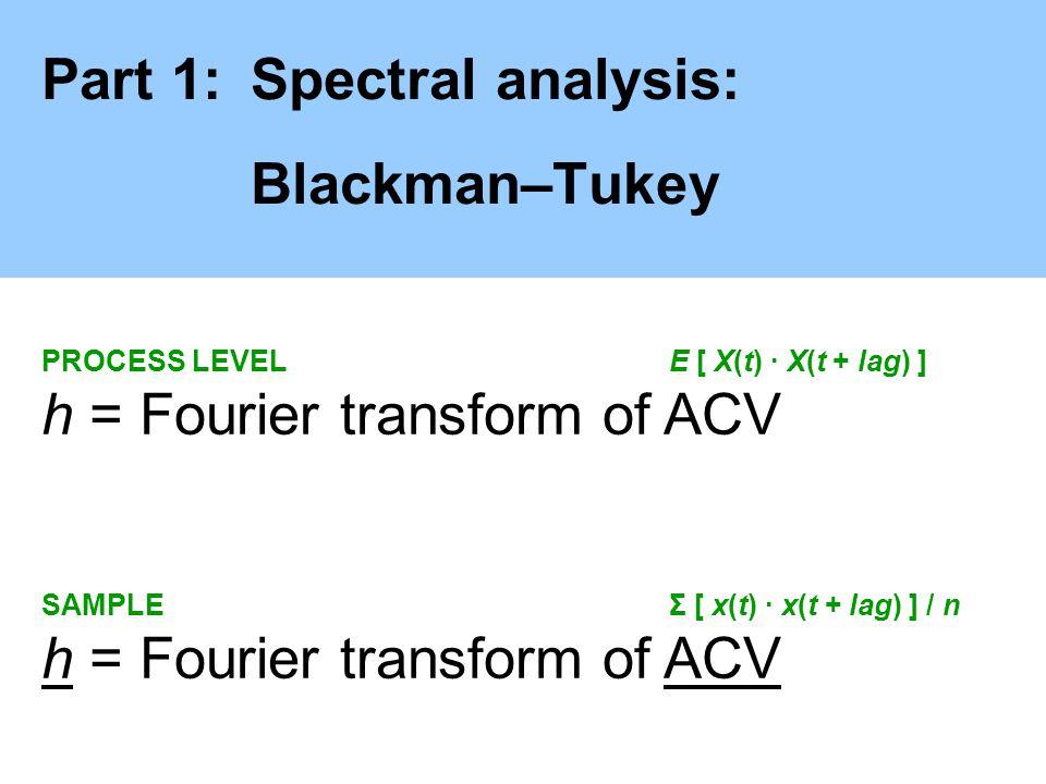 Part 1:Spectral analysis: Blackman–Tukey PROCESS LEVELE [ X(t) · X(t + lag) ] h = Fourier transform of ACV SAMPLEΣ [ x(t) · x(t + lag) ] / n h = Fouri