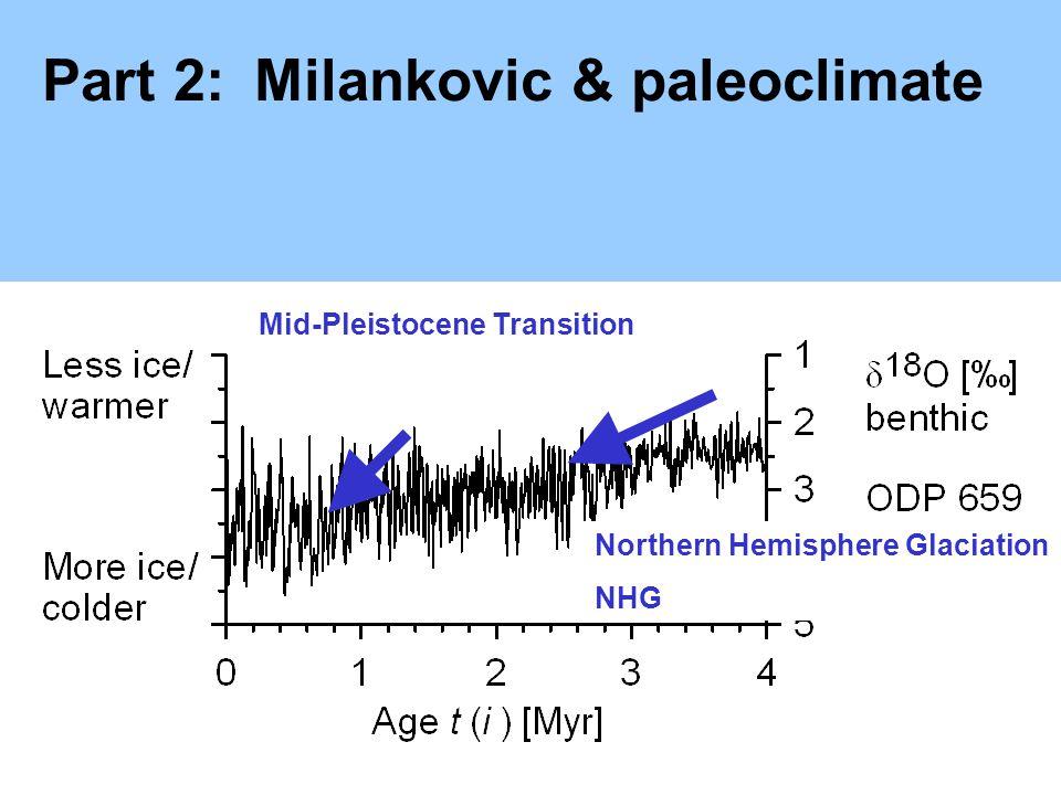 Part 2:Milankovic & paleoclimate Northern Hemisphere Glaciation NHG Mid-Pleistocene Transition