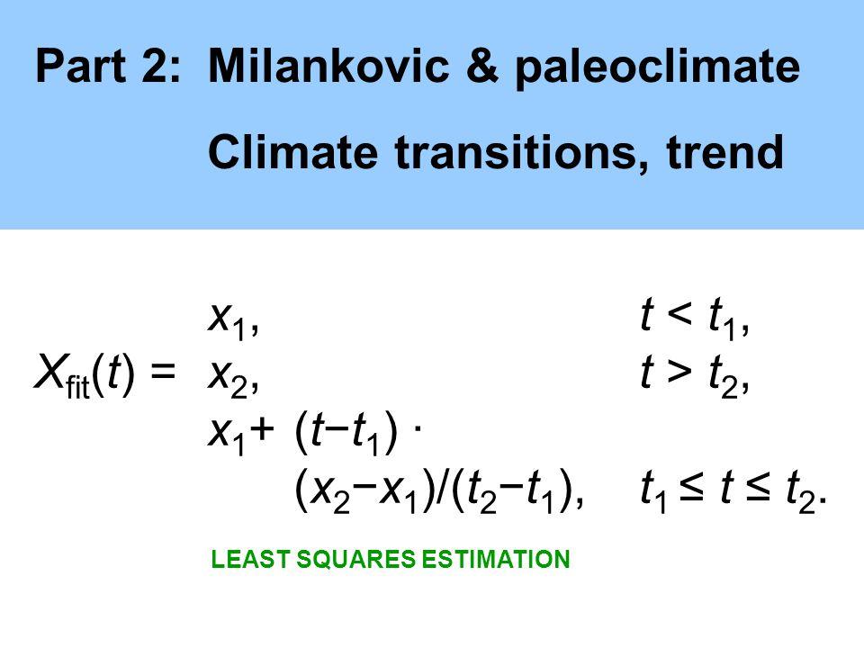 Part 2:Milankovic & paleoclimate Climate transitions, trend x 1, t < t 1, X fit (t) =x 2, t > t 2, x 1 +(tt 1 ) · (x 2x 1 )/(t 2t 1 ), t 1 t t 2.