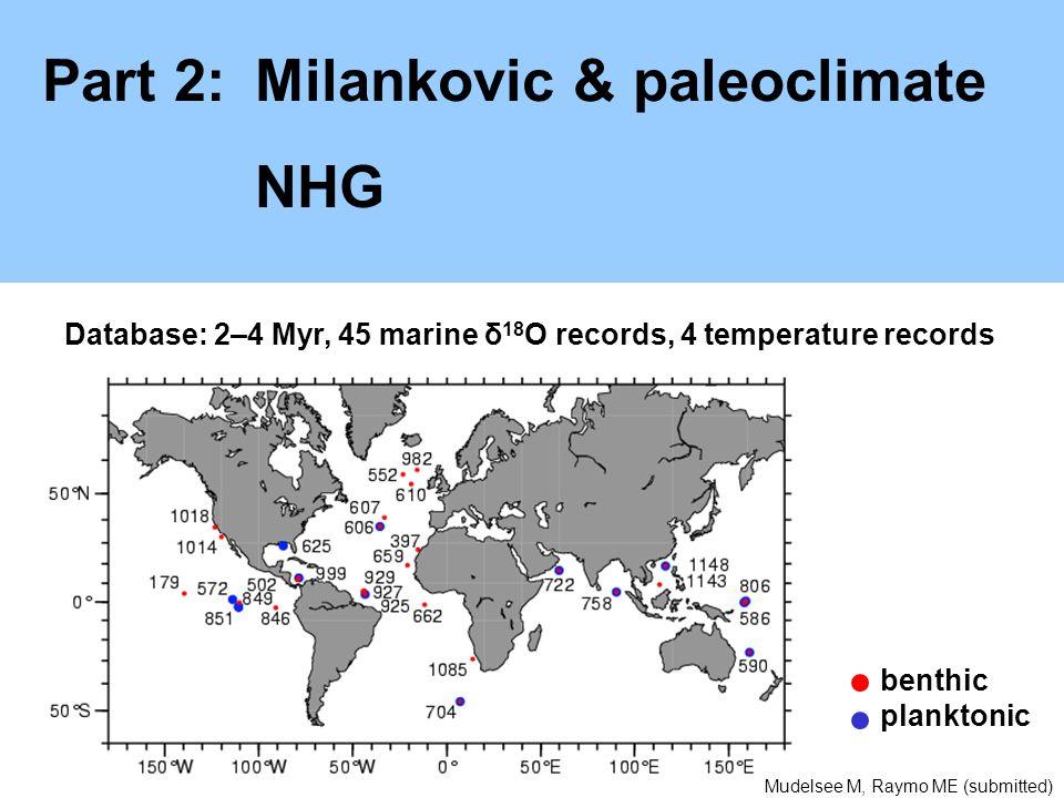 Part 2:Milankovic & paleoclimate NHG Database: 2–4 Myr, 45 marine δ 18 O records, 4 temperature records benthic planktonic Mudelsee M, Raymo ME (submi