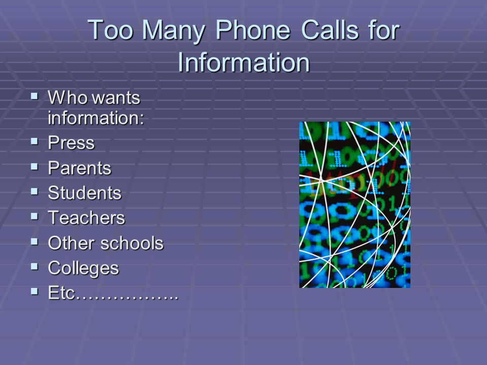 Too Many Phone Calls for Information Who wants information: Who wants information: Press Press Parents Parents Students Students Teachers Teachers Other schools Other schools Colleges Colleges Etc……………..